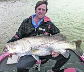 Craig Griffiths caught a great 117cm barra in cold wet winter conditions in local creeks on an Area 51 Slick Rig legend.