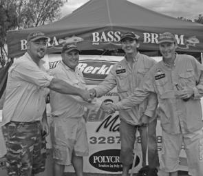 Series winners Craig Simmons and Kerry Symes congratulate event winners Kelvin Williams and Roderick Walmsley.