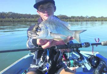 The author caught this bream casting Cranka Crabs at boat hulls.