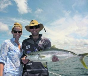 Broken Bay and Pittwater have produced some good kingfish like this 85cm specimen caught by Sam and Lauren.