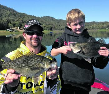 Grant and Harrison Clements found some chunky bass trolling around.