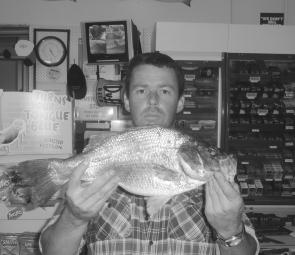 Brad Cunningham with a 1.6kg estuary perch from a local river at Port Albert.
