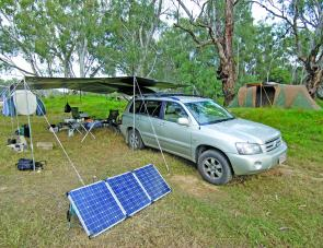I loved this camp below Cobram on the Murray River. Everything about it was comfortable and the solar panels worked wonderfully well for the duration of the stay maintaining battery power for the three days before we moved.