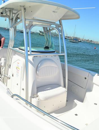 Now THAT'S a console. Big bore pipework and a fibreglass hard top allow outrigger mounting, rod holder mounting and a shaded helm position – everything you need for a big day on the water.