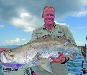 Mick Deroy with his first metre barra.