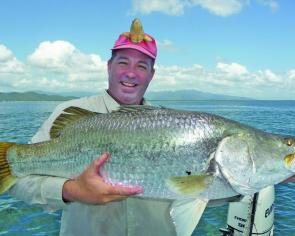 Anthony Tipping from Townsville with his first big barra at 100cm.