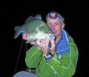 Scott Anderson, creator of Nutterjuck lures, with a fat bass that couldn't resist a jointed Walker.