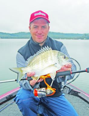 Glenn Helmers with a bream caught around the leases in Brisbane Water.