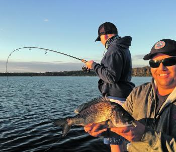 A cracking black bream from the top lake in Merimbula with another hook-up in the background – awesome stuff.