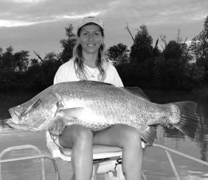 Julie McKendrick shows off her 120cm+ barra. To say she was stoked would be an understatement!