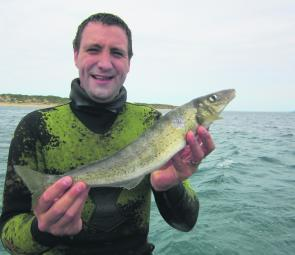 Jordan Hill and a nice King George whiting taken wide off Point Lonsdale area.