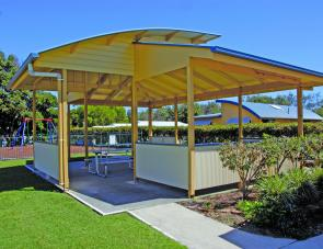 Shelter sheds will suit users as a place to rest or have to a meal outdoors. They are also close to the playground.