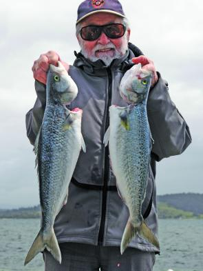 Ken Henderson with a brace of average Georges Bay Australian salmon.