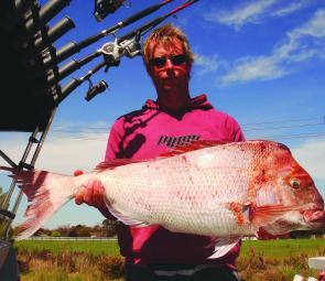 A monster 10.8kg snapper caught by Ian Wood and friend Hank. They fished a rubbly patch of ground known as 'Long Reef' in Western Port.