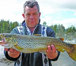 Mark Ward with his Lake Fyans brown trout that weighed around 2.5kg.