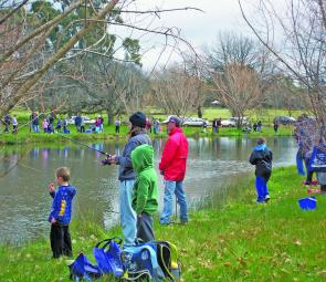 Angling action at the Victoria Park Lakes kids fishing day.