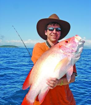 Townsville angler, Chris Sandra with a nice Hinchinbrook red.