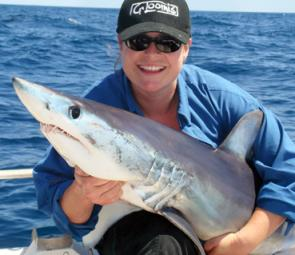 Vicki and her first mako, a 35kg specimen captured offshore from Western Port.
