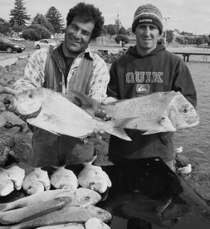 Frankie and Joel landed a 3kg snapper and another 2.5kg beauty amongst their big catch (photo courtesy Bob McPherson).