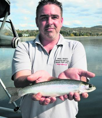 Peter Winter's first trout – happy man.