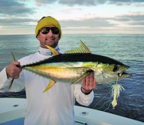 Peter Agapiou had a ball aboard Rob Laspina sportfishing charters landing this yellowfin tuna recently.