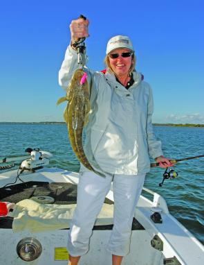 Lorraine Jones with a flattie caught on a Micro Mullet.