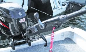 Suzuki's redesigned tiller arm for the DF40A and up features a digital tachometer and troll rev selector along with an ergonomic grip with trim switch at the end.