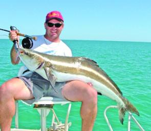 A run of big cobia appeared from nowhere in June. After a long fight this fish was landed on the 10 weight.