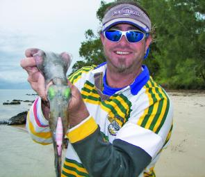 This squid was taken on an Ecogear jig near Dunwich, Stradbroke Island, and new years day.