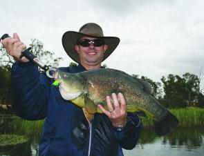A client of Cod Hunter Fishing Tours caught this 61cm golden perch by casting lures in the Loddon River at Bridgewater.