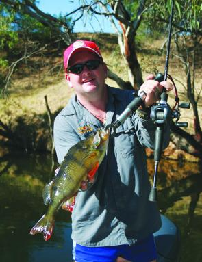 Roger Miles of Cod Hunter Fishing Tours caught this 1kg redfin by casting lures in the Campaspe River.