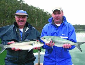 Phil and Brian with a couple of solid salmon from the Pambula River. Expect these fish to hang around all winter.