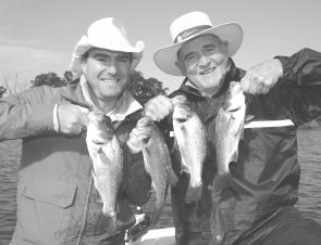 Nathan and Terry Quailey with a brace of estuary perch caught on soft plastics and released in prime condition.