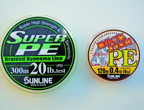 Sunline Super PE and high-grade Rock Fish PE.