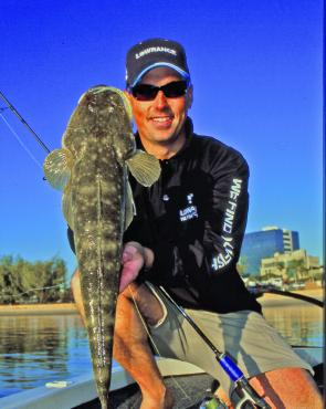 "The Gold Coast is home to some amazing flathead fishing. This fish of 65cm took a Berkley 5"" Gulp Minnow rigged on a 1/4oz TT Lures jighead."