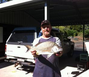 Les Dudley with 42cm of bream caught at River Heads on a plastic.