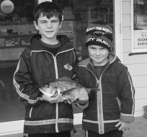 Tom and Ryan Thatcher from Stratford with a nice Bemm bream.