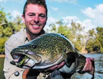 Jack Zyhalak with a solid Murrumbidgee River cod that was living on a large red gum log.