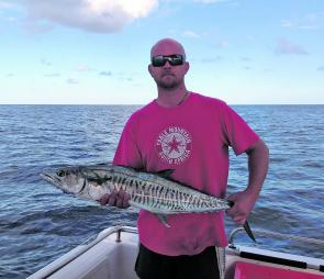 Justin Blairs caught his first Spanish mackerel on the troll out from Yeppoon.