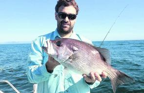 Brent Kirk with a crackin' pearl perch taken in 60m of water off Scotts Head.
