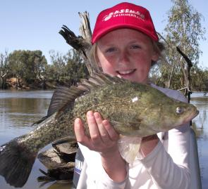 Macey Evans with a golden perch she caught on bait at Wemen, on the Murray River.