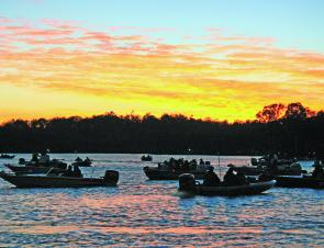 Sunrise is a very popular time to hit the water and be the early bird that catches the bass. It's a beautiful time of day.