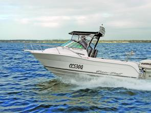 The Explorer 530 and Evinrude E-Tec 130 easily tamed the Moreton Bay chop.