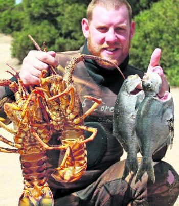 Mick Maheny with a nice feed of sea sweep and lobster.