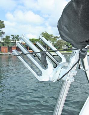 The wakeboard rack could be another site for rail-mounted rod holders.