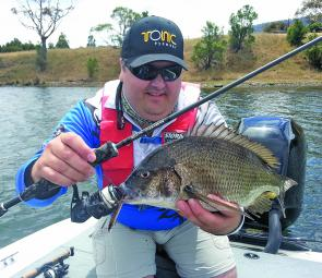The author pulls another big bream from one of the Derwent's prime shores.