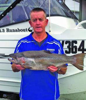 Peter (Budge) Bryant, a regular at Camperdown with a 3.3kg rainbow trout caught at Lake Bullen Merri down rigging Tasmanian Devils behind cowbells.