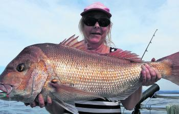 Annette was happy with this solid snapper.