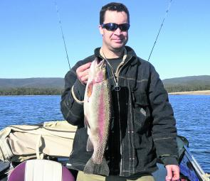 A wonderful 1.9kg rainbow trout the author caught at Lake Wartook on a peeled yabby tail.