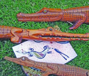 Where crocodiles are found, the indigenous people use them in their art forms as they are linked to their mythology. This is a painting from near Darwin, the three wooden carvings are from different areas in New Guinea.